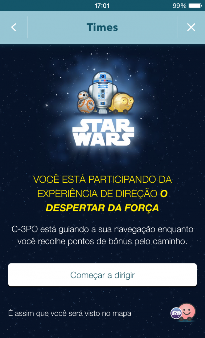 Waze App Image_The Force Awakens Team Confirmation (Waze Star Wars Landing Page (Português)