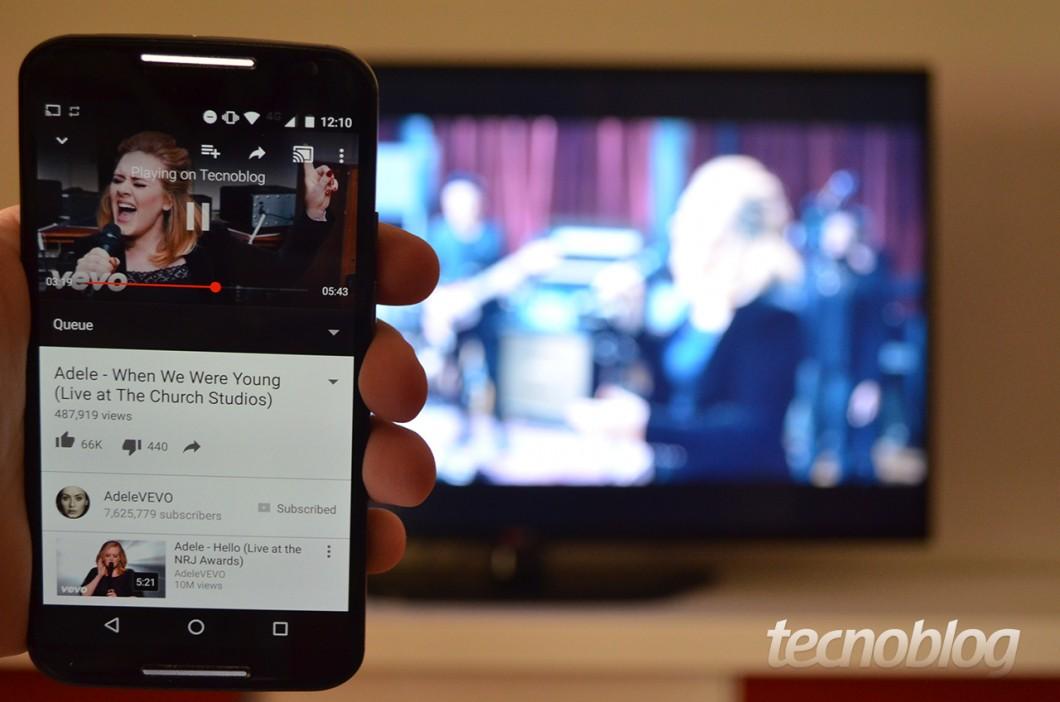 Abrir o YouTube na televisão: recurso que a maioria das Smart TVs também tem.