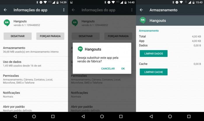 hangouts-desativar-android liberar espaço no android