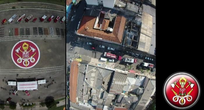 Imagem feita por um drone do Corpo de Bombeiros
