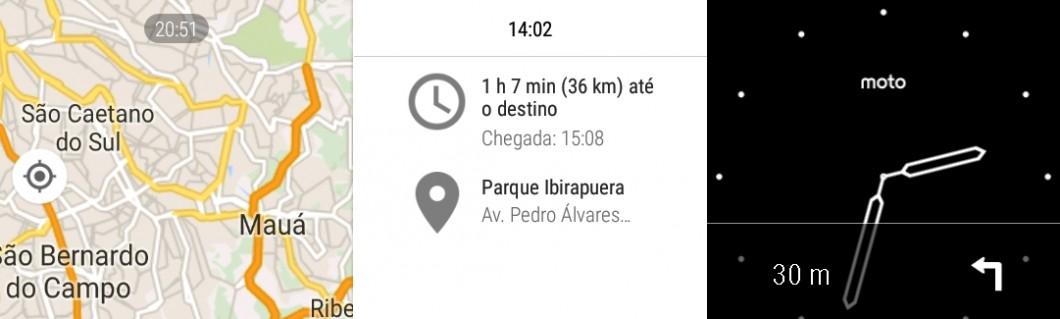 Você também pode usar o GPS com o Google Maps, olha só; o app exibe no visor orientações sobre trajeto