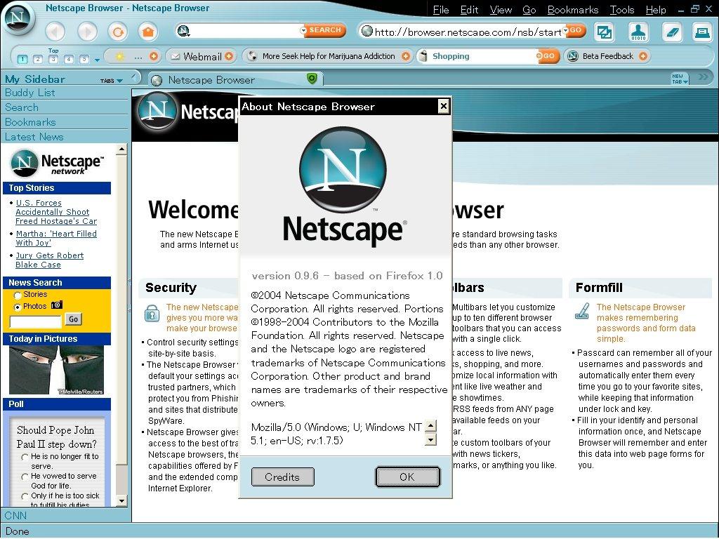 Não aparece aqui, mas o Netscape também exibia a previsão do tempo na interface