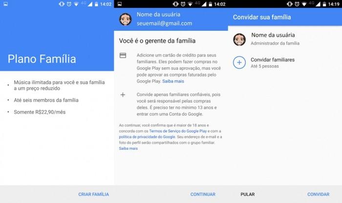Google Play Música - Plano Família