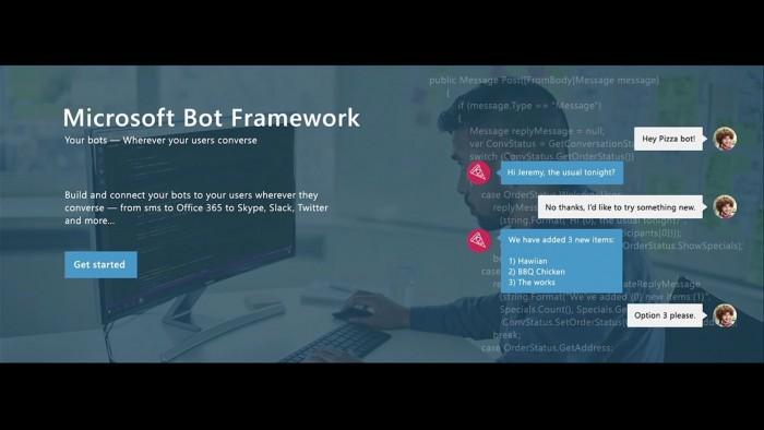 Microsoft Bot Framework, que permite a desenvolvedores criar chats inteligentes para pedir pizza, por exemplo.