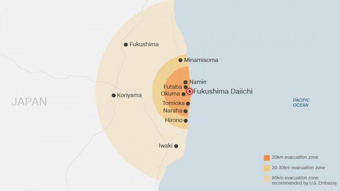 Diferentes zonas de evacuação ao redor da usina de Fukushima Daiichi.