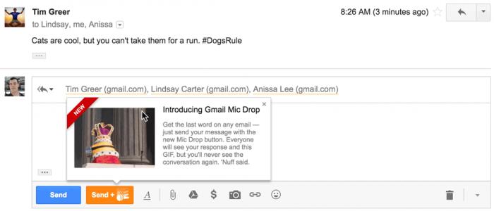 A brincadeira do Mic Drop no Gmail deu errado