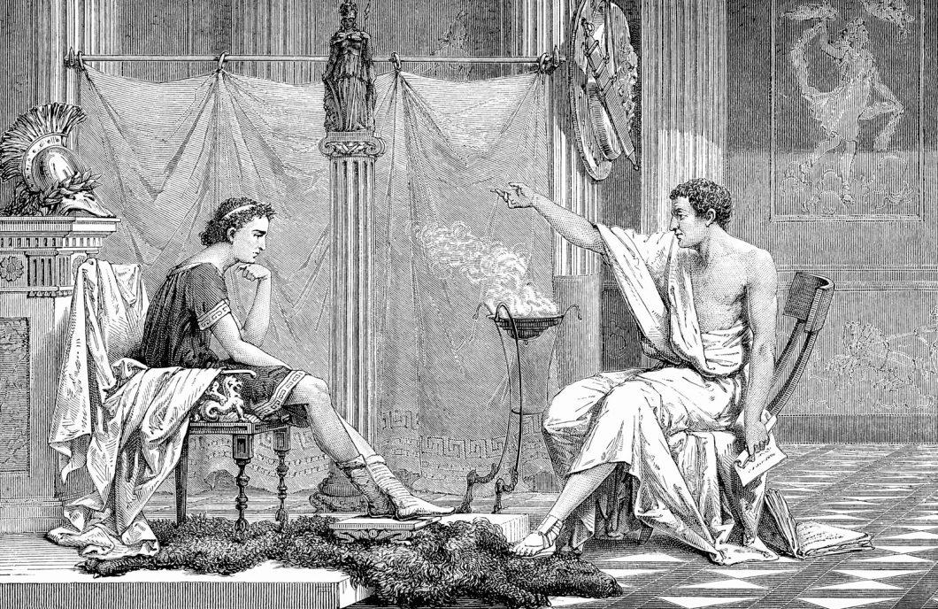 O filósofo grego Aristóteles (à direita) ensinando o jovem Alexandre, o Grande (356-323 a.C.). Gravura de 1875.
