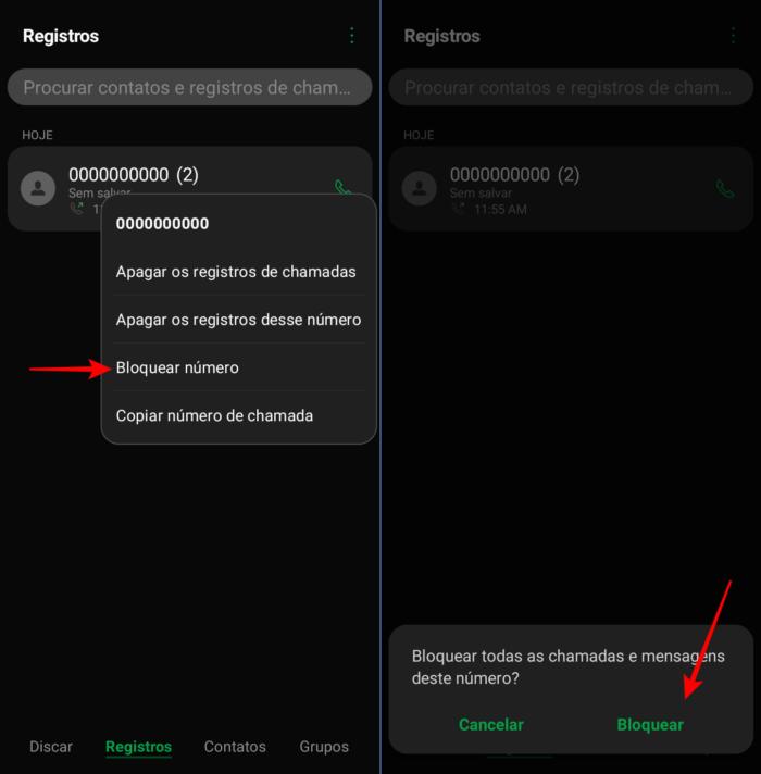 bloquear chamada no Android da LG