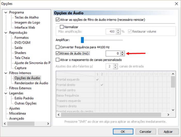 Media Player Classic: intervalo de áudio