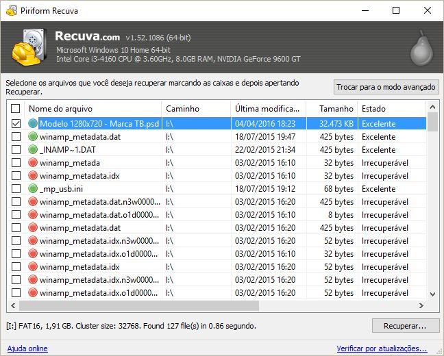 Você pode usar o Recuva para recuperar fotos apagadas de um celular Android