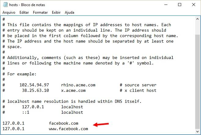 Arquivo hosts editado