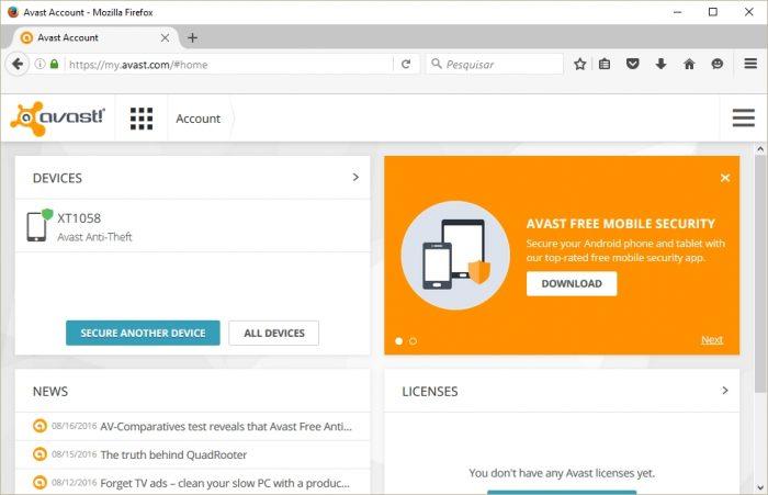 Avast Anti-Theft - web