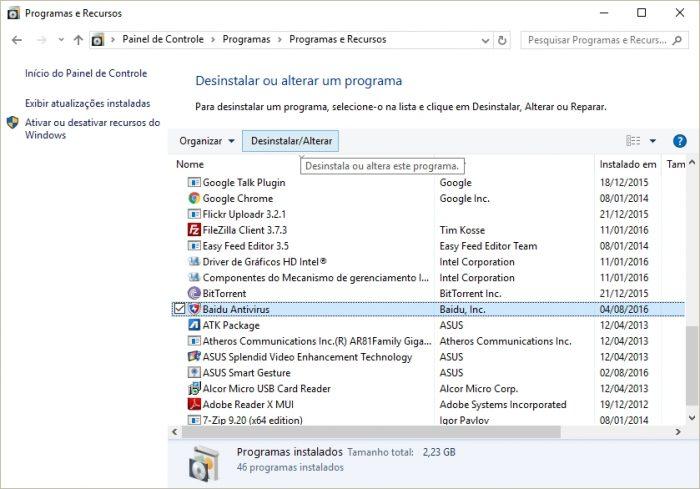 Painel de Controle - Desinstalando o Baidu Antivirus