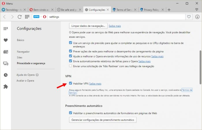 Navegador Opera com VPN