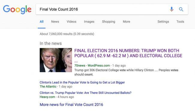 Notícia falsa exibida no Google durante as eleições presidenciais dos Estados Unidos