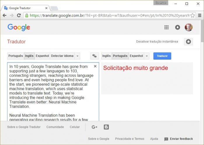 Google Tradutor - erro