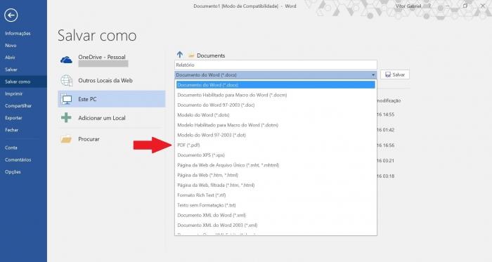Salvar Word em PDF (Imagem: Reprodução/Microsoft)