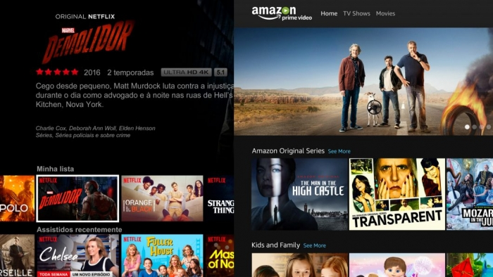 Amazon Prime Video e Netflix lado a lado
