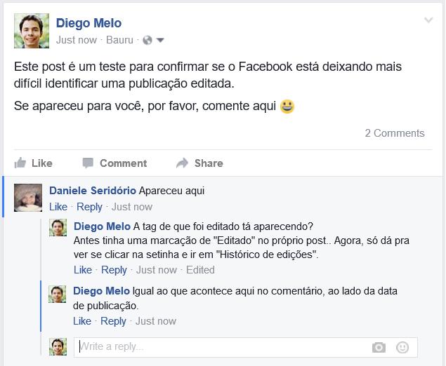 Facebook está deixando mais difícil identificar posts editados