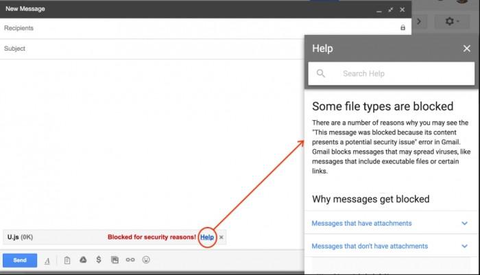 Mensagem de bloqueio no Gmail