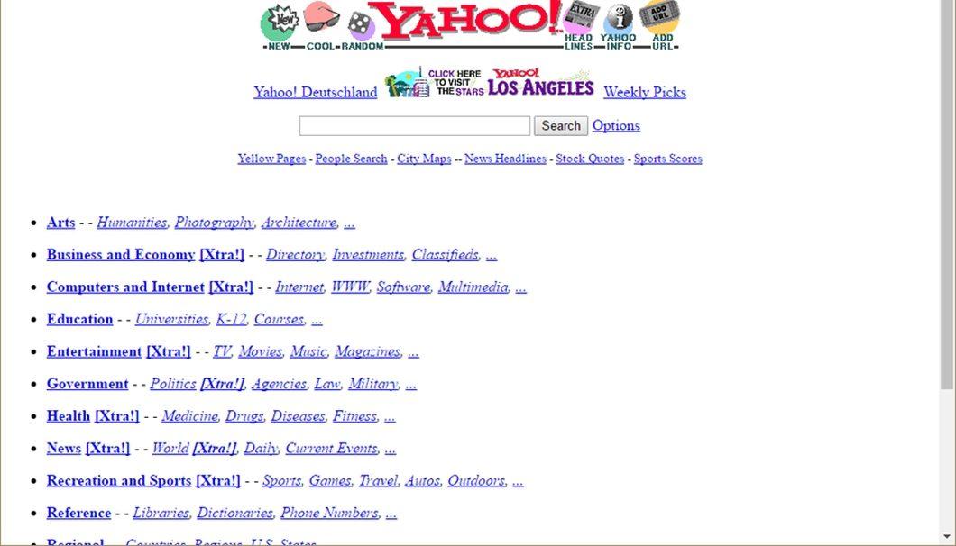 O Yahoo em 1996