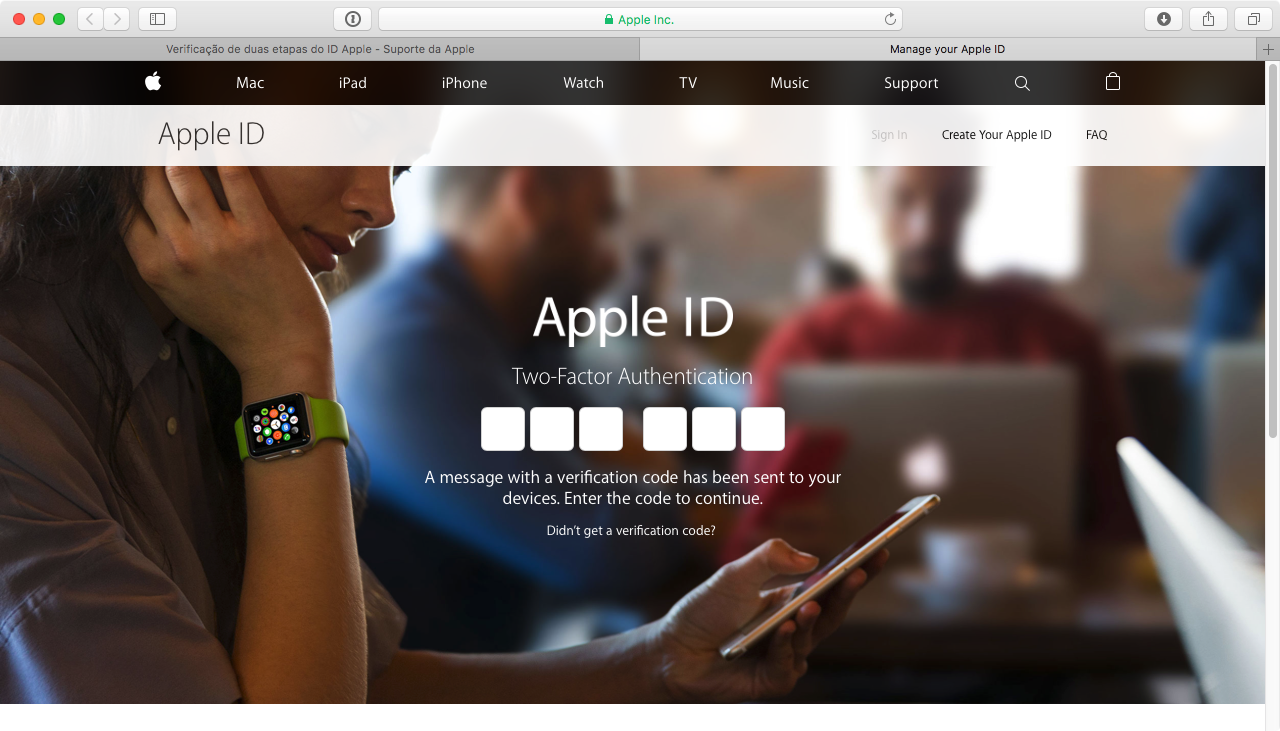 Verificação em duas etapas para Apple ID