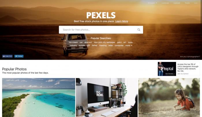 Pexels é um banco de imagem gratuito