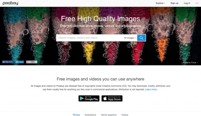 Pixabay é um banco de imagem gratuito
