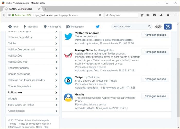 Revogar acesso no Twitter