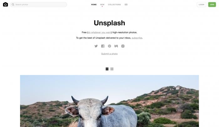 Unsplash é um banco de imagem gratuito