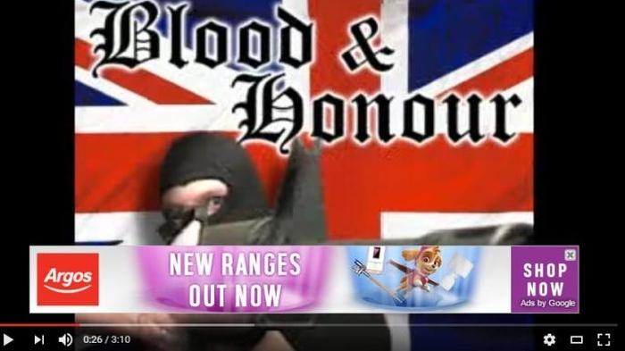 Um vídeo extremista com anúncio