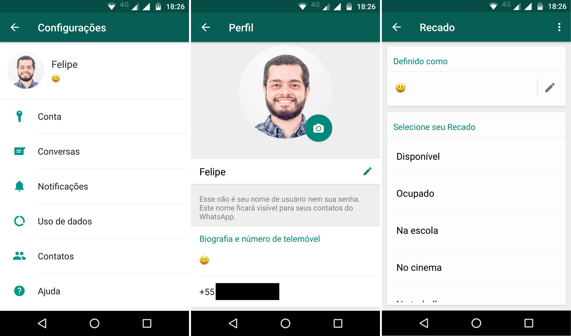 WhatsApp regresa con un estado de frase personalizado en Android