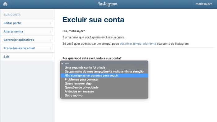 Excluir Instagram - Portugues