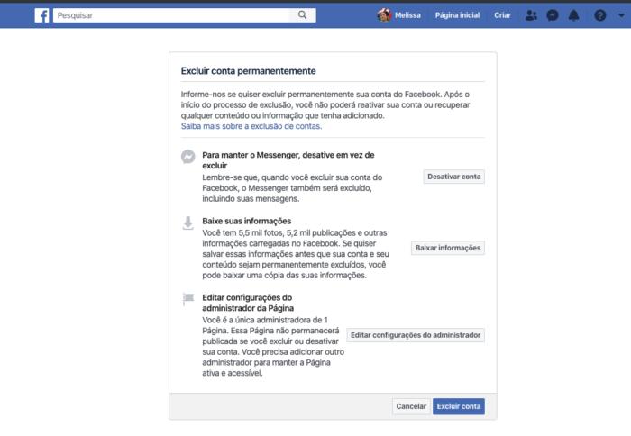 Excluir Facebook Permanentemente