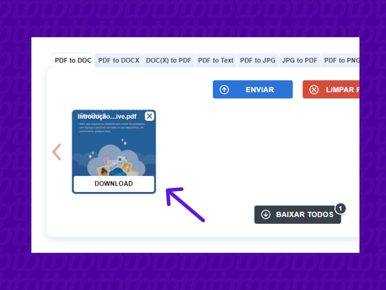 screenshot do download de documento no site pdf to doc