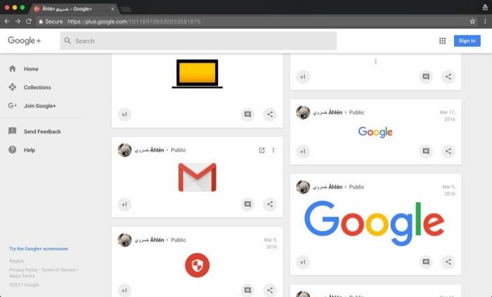 Página falsa no Google+