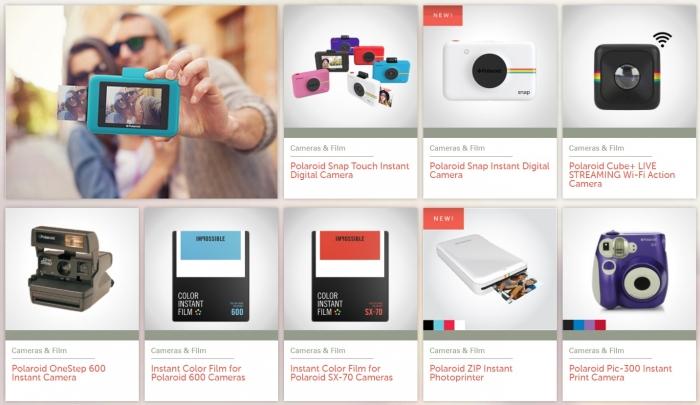 Os produtos atualmente vendidos com a marca Polaroid, incluindo a câmera  Polaroid 600 da Impossible Project 7569715f32