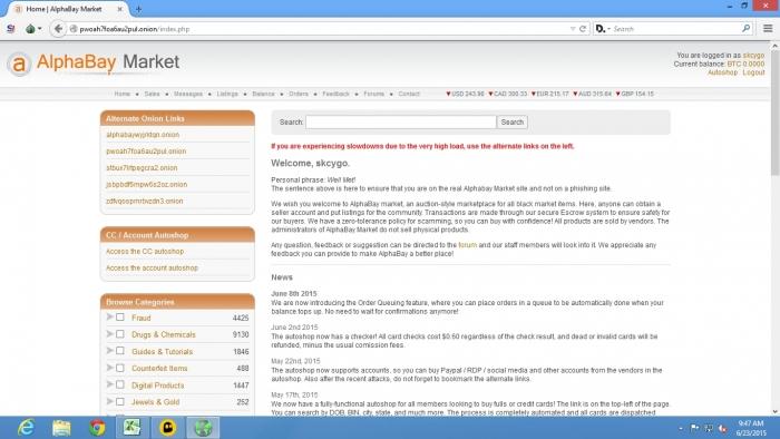 Alphabay (Imagem por Dark Web News)