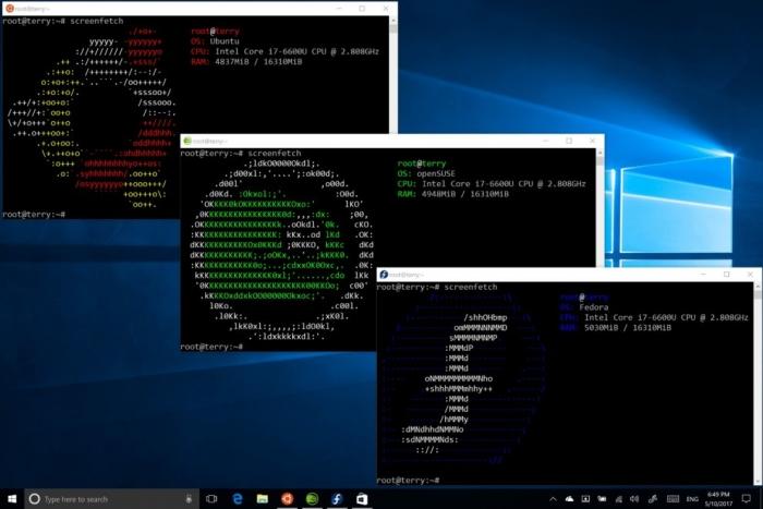 Com o Fall Creators Update há suporte para rodar multiplas distros Linux no substeima ao mesmo tempo