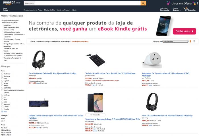 Amazon começa a vender eletrônicos no Brasil a partir de amanhã