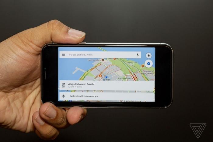 Google Maps no iPhone X. Foto: The Verge