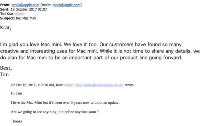 E-mail para Tim Cook
