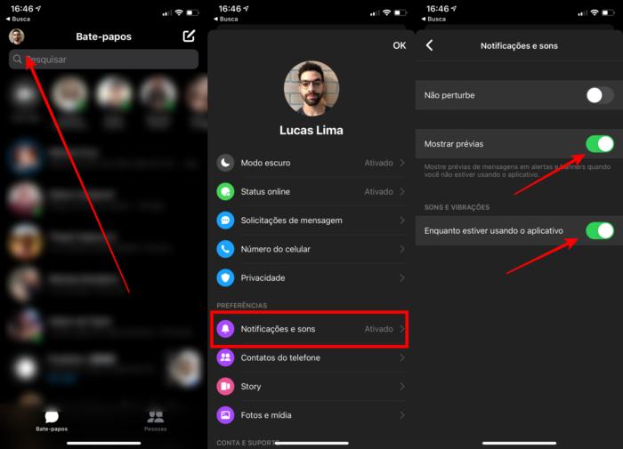 Desativar os sons de notificação do facebook messenger no iPhone