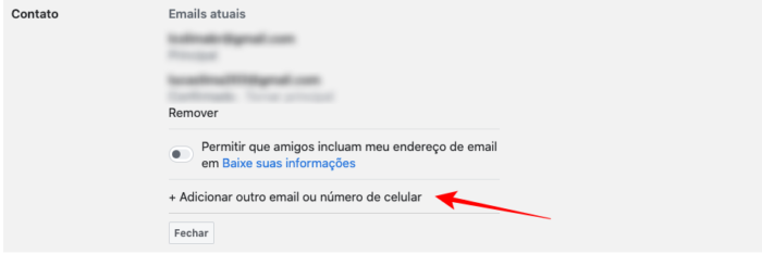 adicionar novo e-mail na conta do facebook