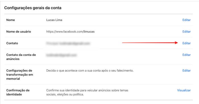 adicionar outro e-mail para entrar no facebook