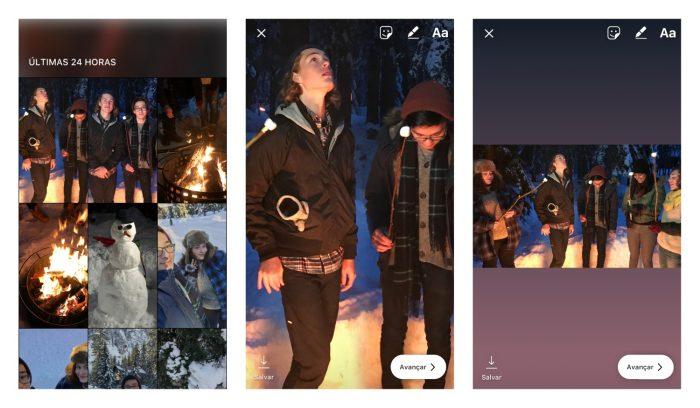 Como postar uma foto inteira no instagram stories tecnoblog abra o instagram e puxe a tela para o lado direito abrindo o stories ccuart Images