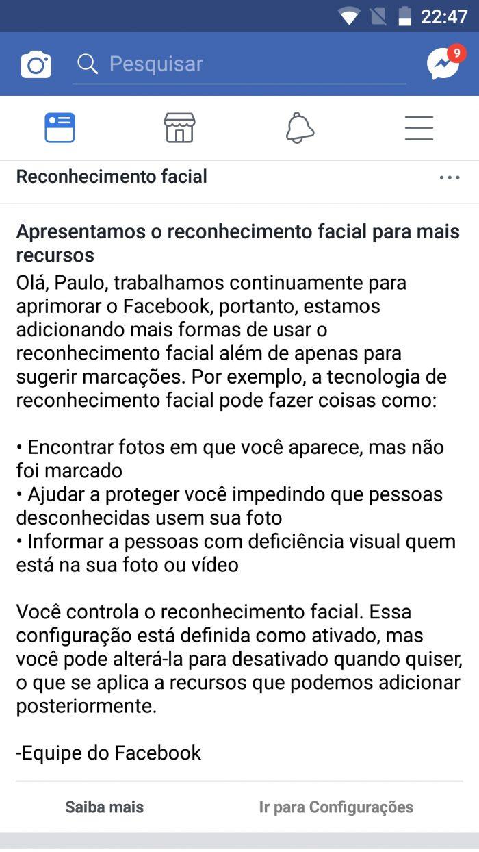 Aviso - Facebook