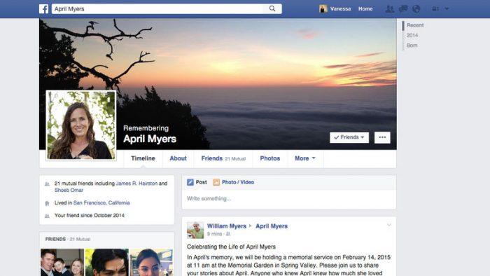 Memorial do Facebook para contas de falecidos (Imagem: Divulgação/Facebook)