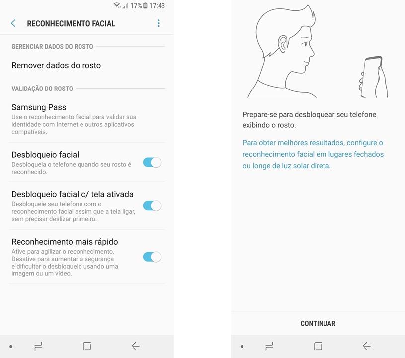 Galaxy A8 - reconhecimento facial