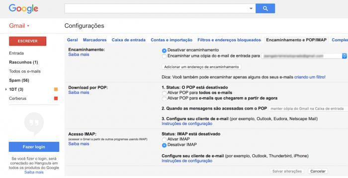 Como encaminhar ou redirecionar vrios e mails no gmail tecnoblog entre nas configuraes do gmail e clique na aba encaminhamento e popimap stopboris Image collections